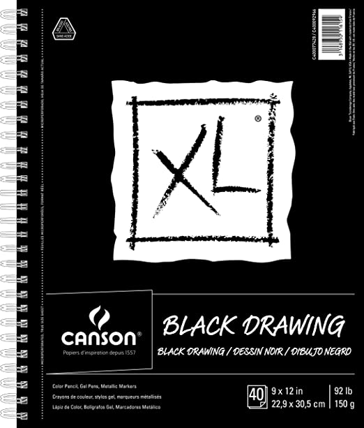 9 x 12 Inch Black 40 Sheets Gouache and Pastels Acrylic Marker Opaque Inks 92 Pound Side Wire Canson XL Series Black Drawing Paper for Pencil