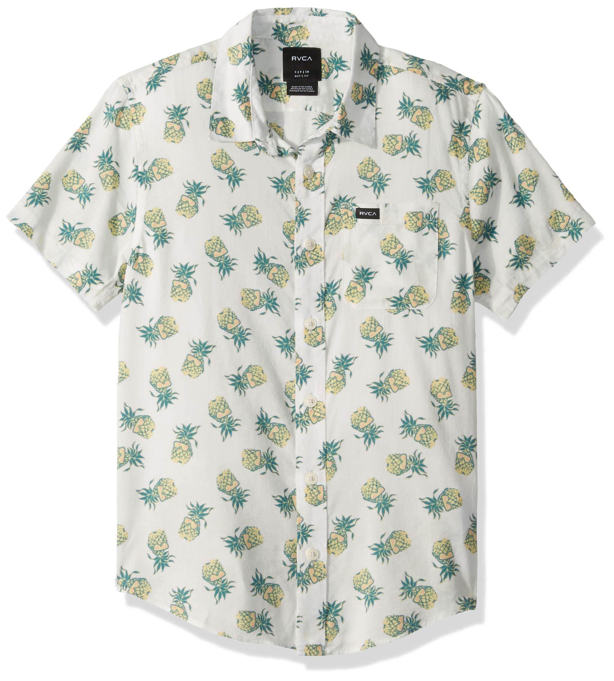 RVCA Boys' Big ANP Pack Short Sleeve Woven Button UP Shirt, Antique/White, S