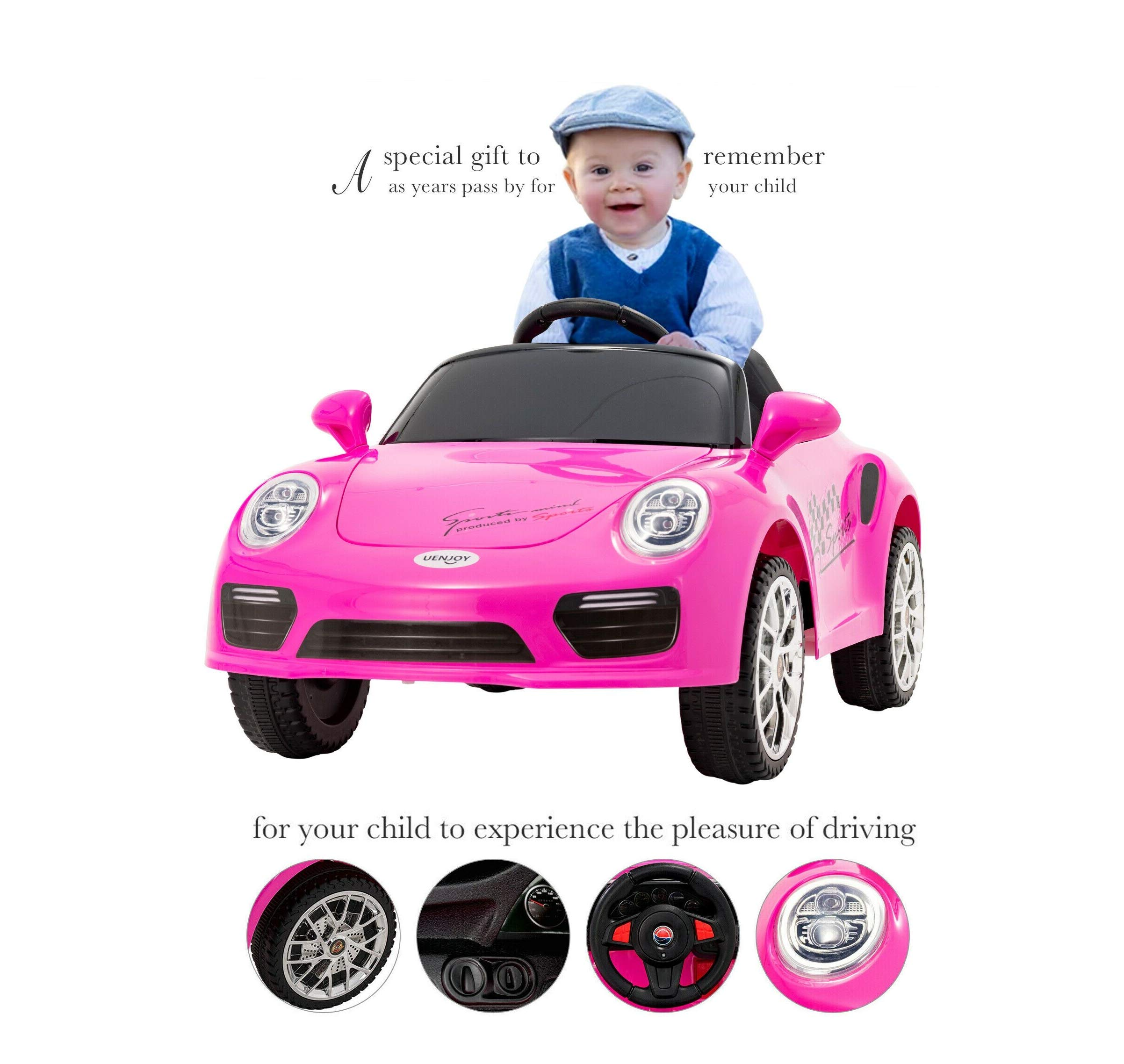 Safety 6V Kids Start RideOn Cars Electric Suspension Car Remote Control Music Pink Quick Arrive