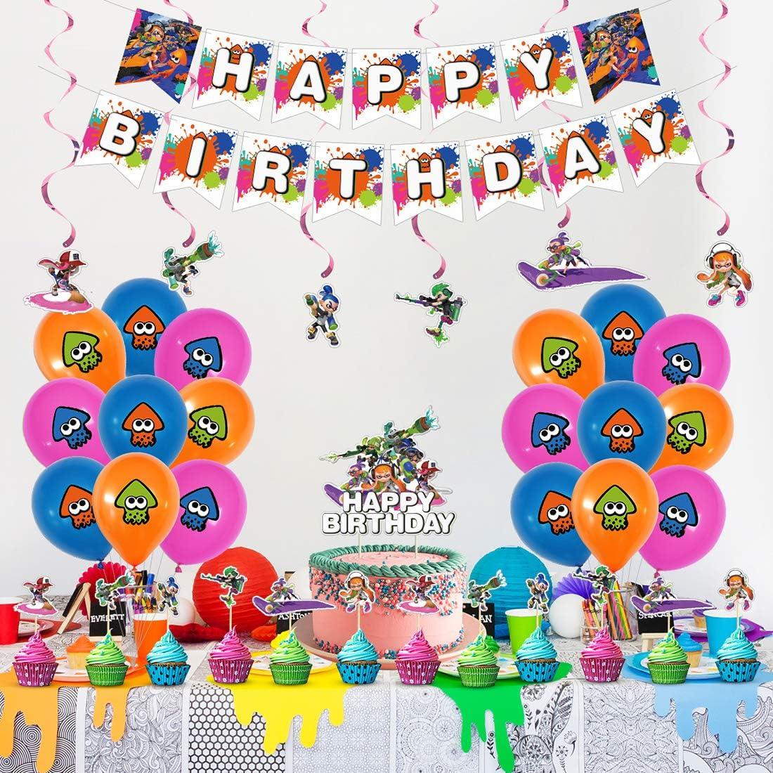 Palloncini Party Splatoon,Splatoon Forniture per Feste di Compleanno di Splatoon includono Banner,Palloncini striscioni Cupcake per Feste Tema di Compleanno Baby Shower Decorazioni