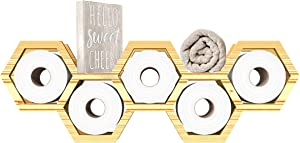 """Modern, Floating """"Honeycomb Toilet Paper Holder for Bathroom – Wall Mount Storage Shelves for Toilet Tissue in Natural Color – Novelty Bath Shelves for Original Décor Made of Paulownia Wood"""