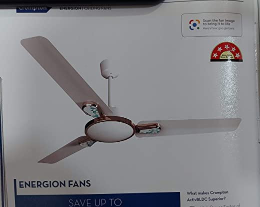 Crompton Energion Stylus Energy Efficient Designer BLDC Ceiling Fan with Remote and Anti-Dust – 1200 mm (Glow White)