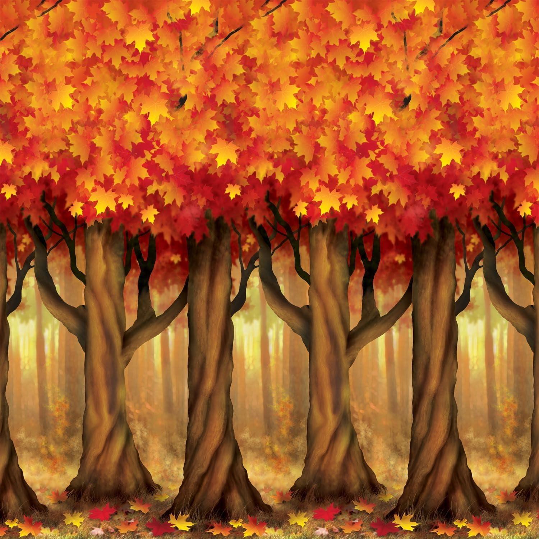 Amazon Com Fall Trees Backdrop Party Accessory 1 Count 1 Pkg