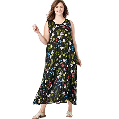 9a49d71c82a Woman Within Women s Plus Size Sleeveless Crinkle A-Line Dress - Black  Field Floral