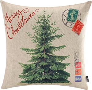 TRENDIN Merry Christmas Throw Pillow Cover Gifts Christmas Tree Xmas Home Decor Cotton Linen 18 x 18 Cushion Cover for Sofa PL072TR