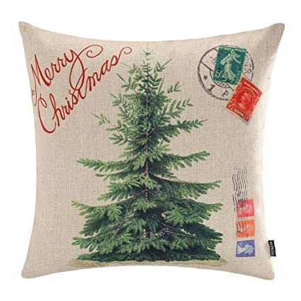 trendin merry christmas throw pillow cover gifts christmas tree xmas home decor cotton linen 18 x - Amazon Christmas Home Decor