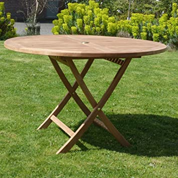 Garden Table - Teak Furniture - Dining Table - Wooden - Outdoor - Folding  Round