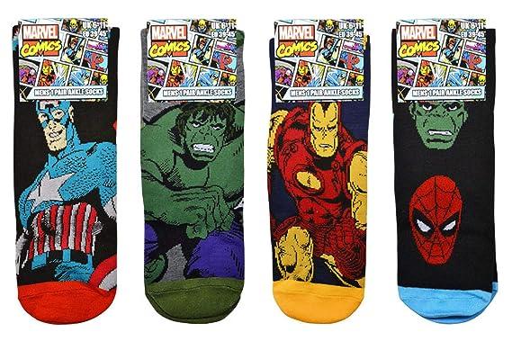 afd1f536aba041 Mens Marvel Comics Avengers Socks Iron Man Captain America Hulk Thor  Spiderman Socks - 4 Pair Set  Amazon.co.uk  Clothing