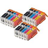15 XL IATUK CLI-551XL/ PGI-550XL Compatible Ink Cartridges for Canon Pixma MG5450 MG5550 MG5650 MG6350 MG6450 MG6650 MX725 MX925 MX725 MG7150 iP7250 Printers