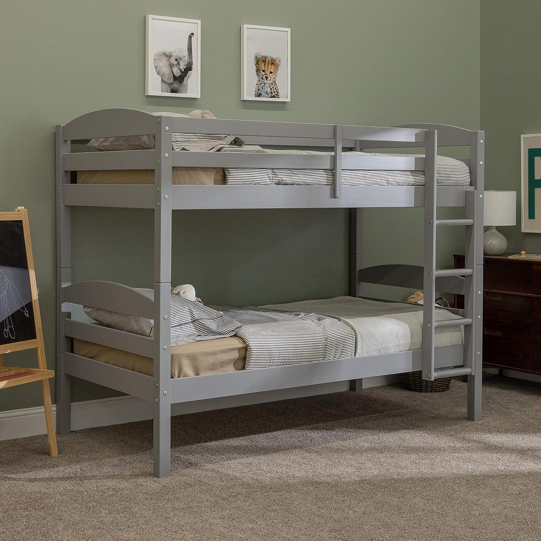 Grey Twin WE Furniture AZWSTOTGY Classic Wood Twin Over Twin Bunk Bed Kids Bed Bedroom