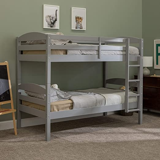 WE Furniture AZWSTOTGY Wood Twin Bunk Kids Bed Bedroom with Guard Rail and  Ladder Easy Assembly, Gray