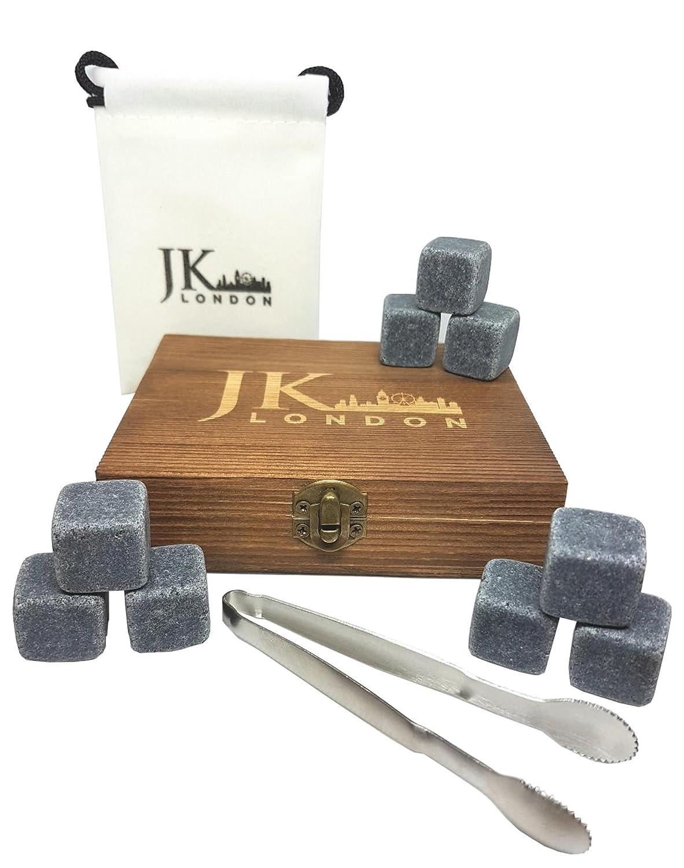 JK London Whisky Stones Geschenk-Set mit 9 wiederverwendbaren natü rlichen Chilling Granit Steinen, ideal fü r Scotch oder Wein Kü hlen mit stilvoller Kieferholzbox, Edelstahlzange und Samtbeutel