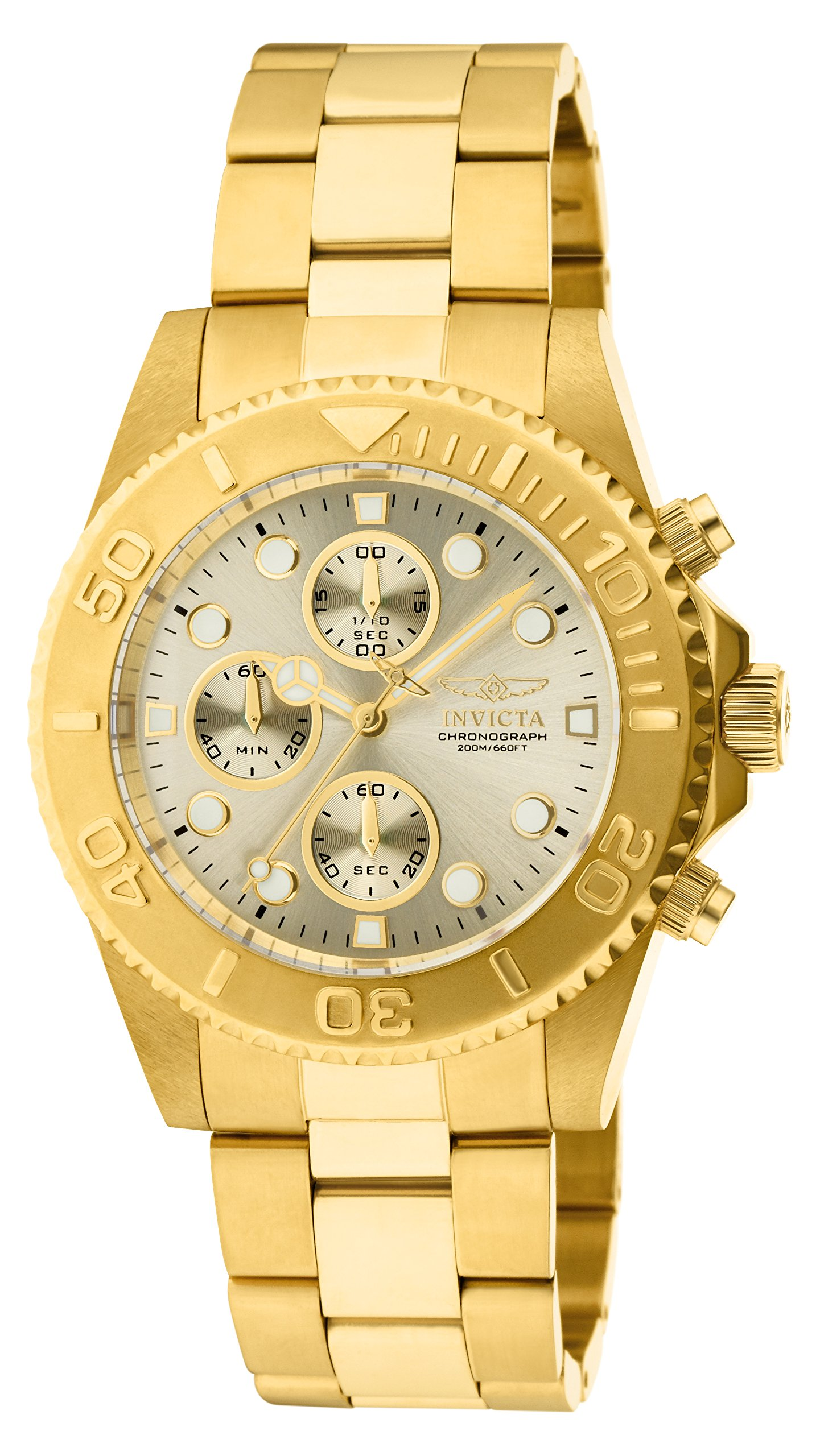 113f3f2f6 Invicta Men's 1774 Pro-Diver Collection 18k Gold Ion-Plated Stainless Steel  Watch