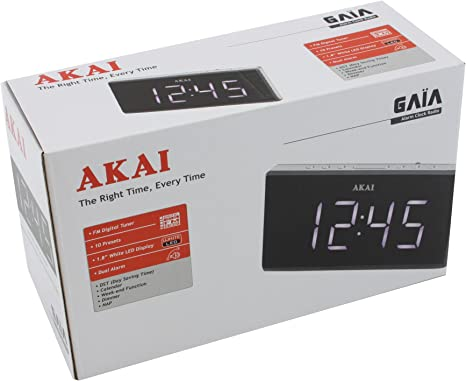AKAI AC 136KS Radio Réveil Tuner Digital avec Présélections Noir