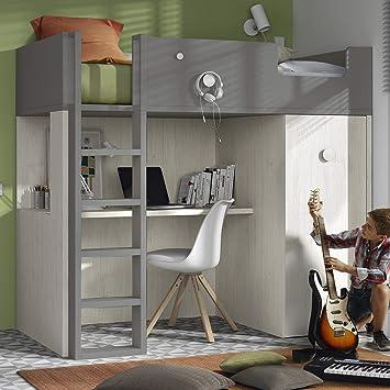 Meubles Ros Lit Mezzanine Avec Bureau Et Armoire 181 1x203 8x115 6