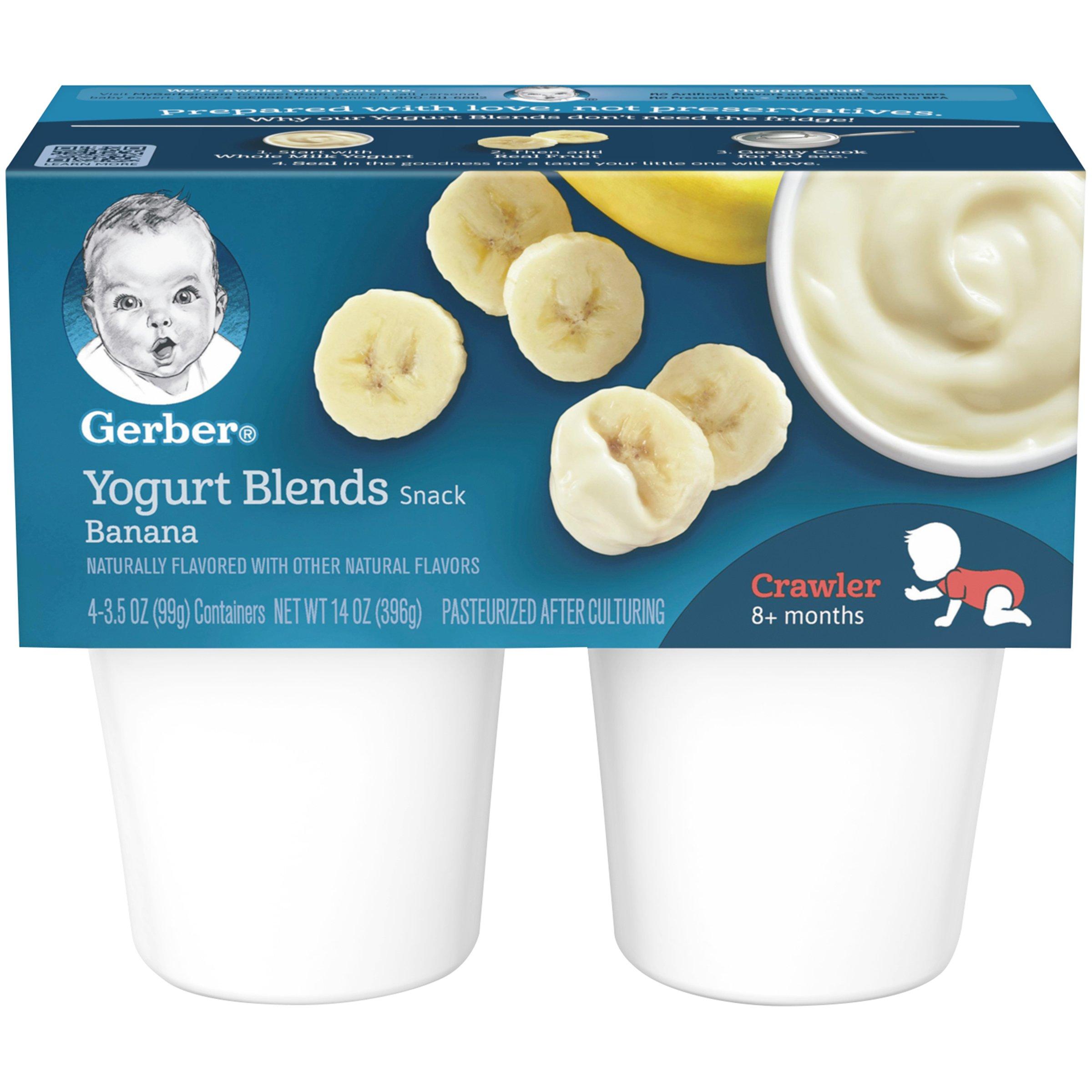 Gerber Yogurt Blends, Simply Banana, 4-Count, 3.5-Ounce Cups (Pack of 6) by GERBER