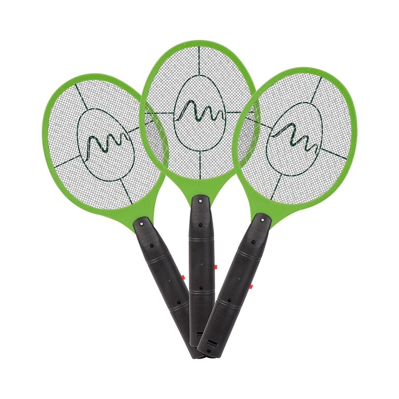 Gardigo elektrische Fliegenklatsche 3er Set | Gegen Mücken und Fliegen | Elektro Fliegenfänger fürs Haus | Insektenabwehr, Mückenschläger Mückenschläger