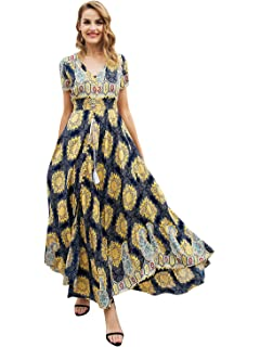 bf79344878 Simplee Women's Casual V Neck Floral Print Boho Maxi Dress with Short  Sleeves
