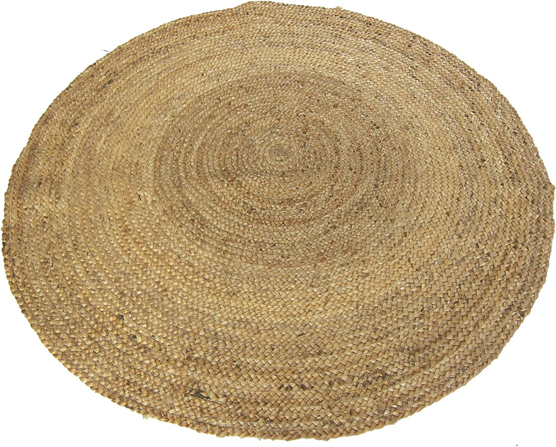Chardin home Farmhouse Jute Braid Oval Rug, Natural, Size: 18x30 inch. -1.5x2.5 ft. (3' Rnd)