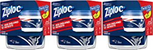 Ziploc Brand NFL New England Patriots Twist 'n Loc Containers, Small, 2 ct, 3 Pack