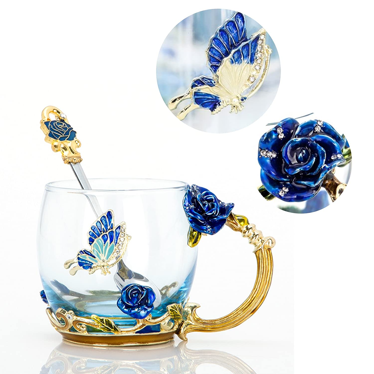 Tea Cup Coffee Mug Cups, 2018 Handmade Butterfly Rose,13 oz (Blue Rose) Ideal for Friend Wedding Anniversary Birthday Presents