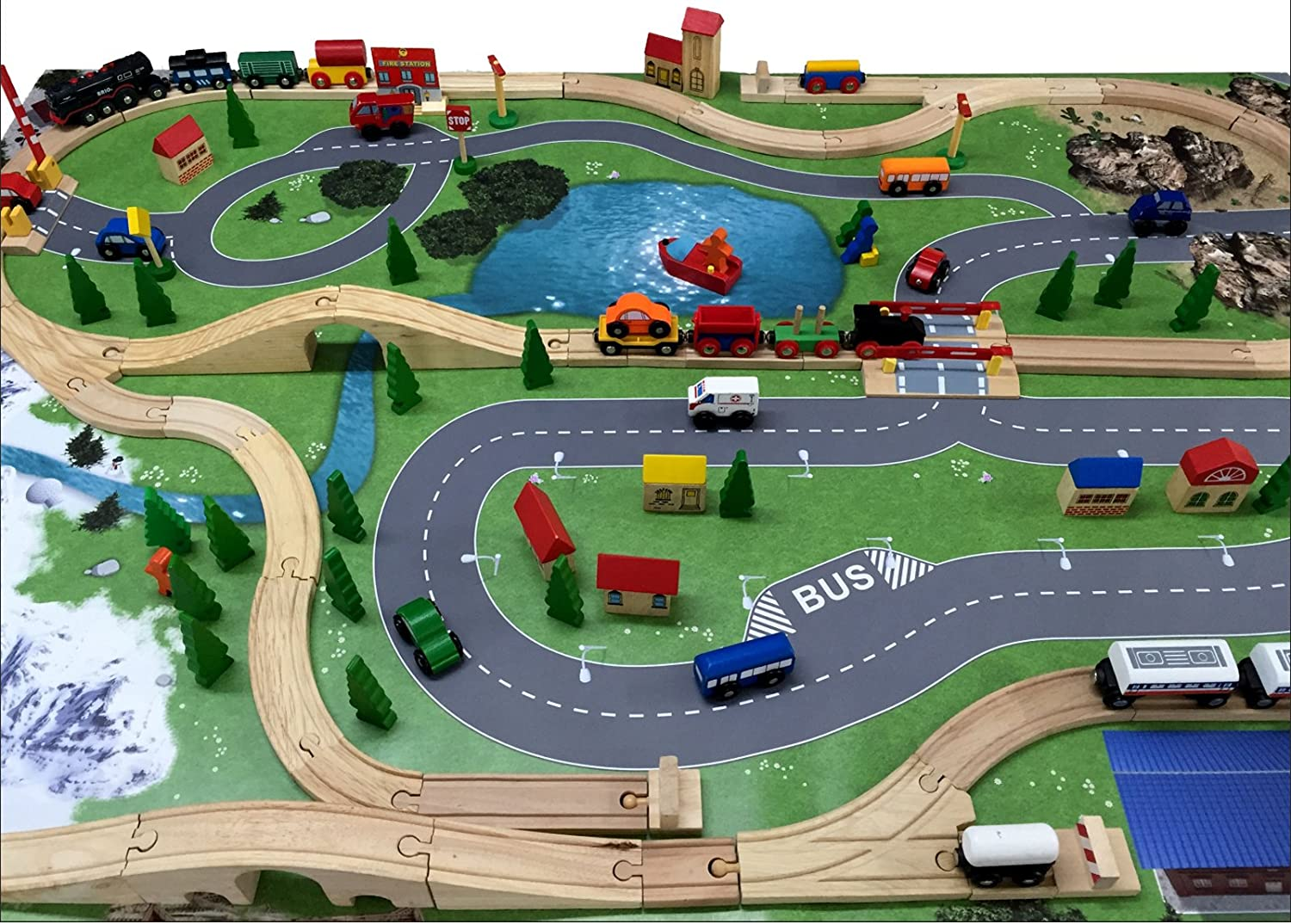 Dimensions 150 x 100 cm for the Children`s Room SM13 Train//Wooden Railway Game Mat//Play Carpet