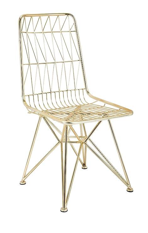 Amazon.com: IMAX Larkin Side silla de comedor, Metal, Dorado ...