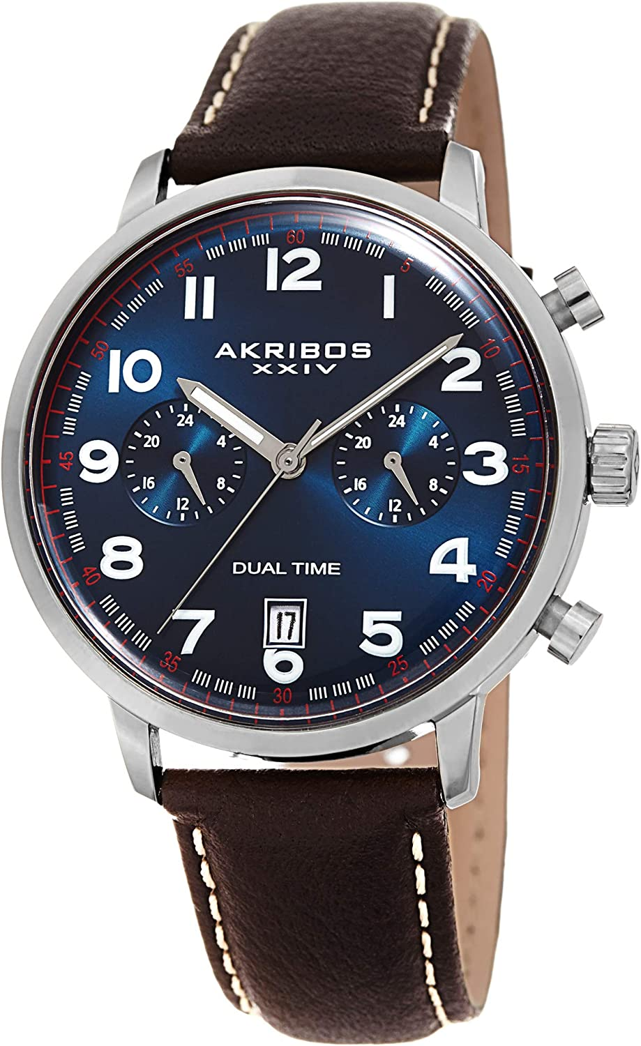Akribos Multifunction Dual Time Chronograph Watch - Casual Designer Men's Leather Wristwatch with Sunray Dial - AK1023