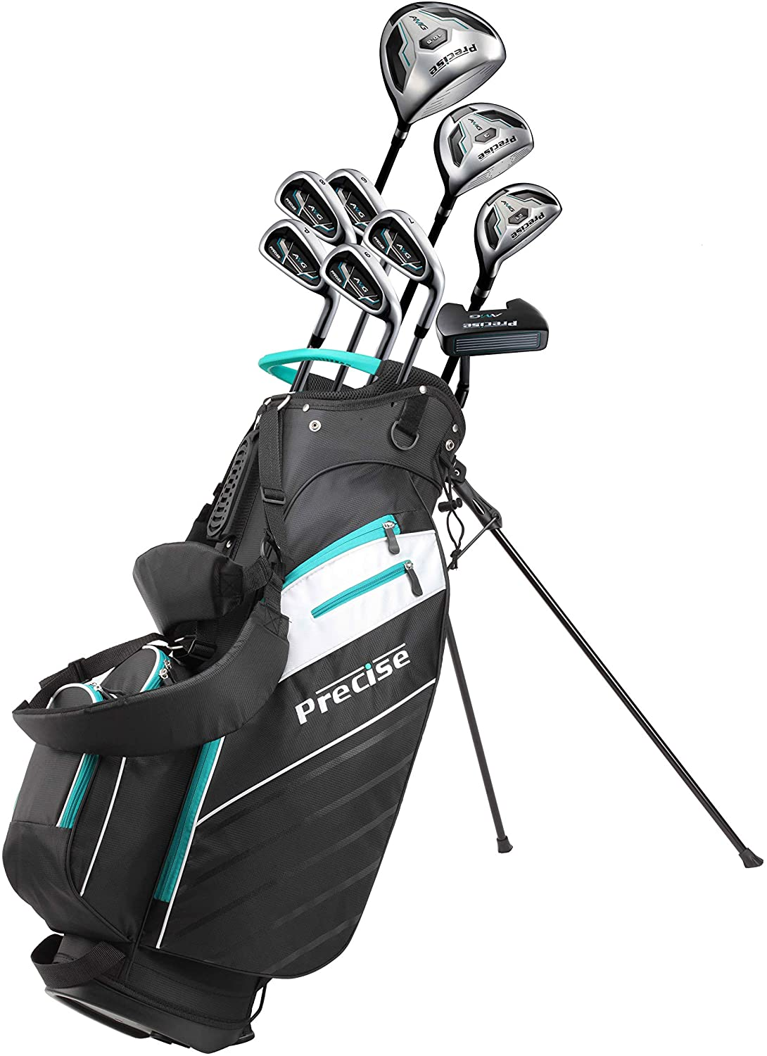 Precise AMG Men's Complete Golf Clubs Package Set Includes Titanium Driver, S.S. Fairway, S.S. Hybrid, S.S. 6-PW Irons, Putter, Bag, 3 H/C's Right Hand - Choose Size!