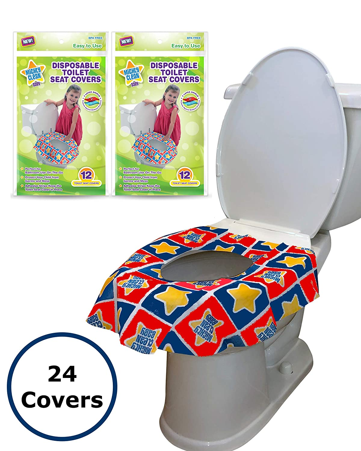 24 Large Disposable Toilet Seat Covers - Portable Potty Seat Covers for Toddlers, Kids, and Adults by Mighty Clean Baby - 2 Packs of 12 Covers