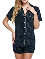 Ekouaer Women's Sleepwear Short Sleeve Pajama Set with Pj Shorts
