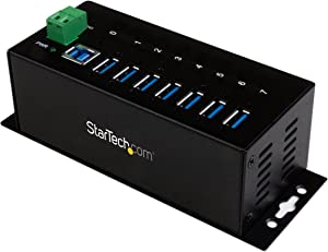 StarTech.com 7-Port Industrial Grade USB 3.0 Hub with ESD & 350W Surge Protection - Rack mountable Metal USB Port Expander Splitter hub (ST7300USBME)