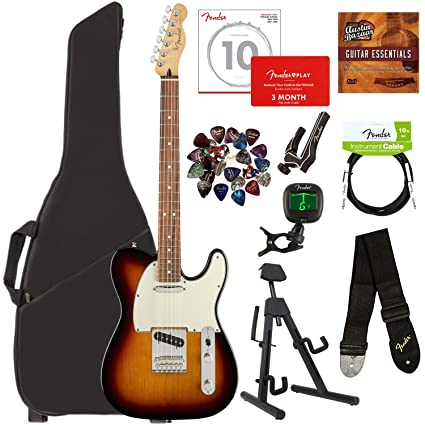 Fender Player Telecaster, Pau Ferro - 3-Color Sunburst Bundle with Gig Bag,  Stand, Cable, Tuner, Strap, Strings, Picks, Capo, Fender Play Online