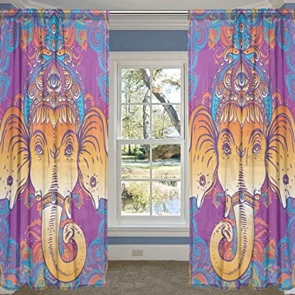 Pleasing Coosun Hippie Elephant Sheer Curtain Panels Tulle Polyester Interior Design Ideas Inamawefileorg