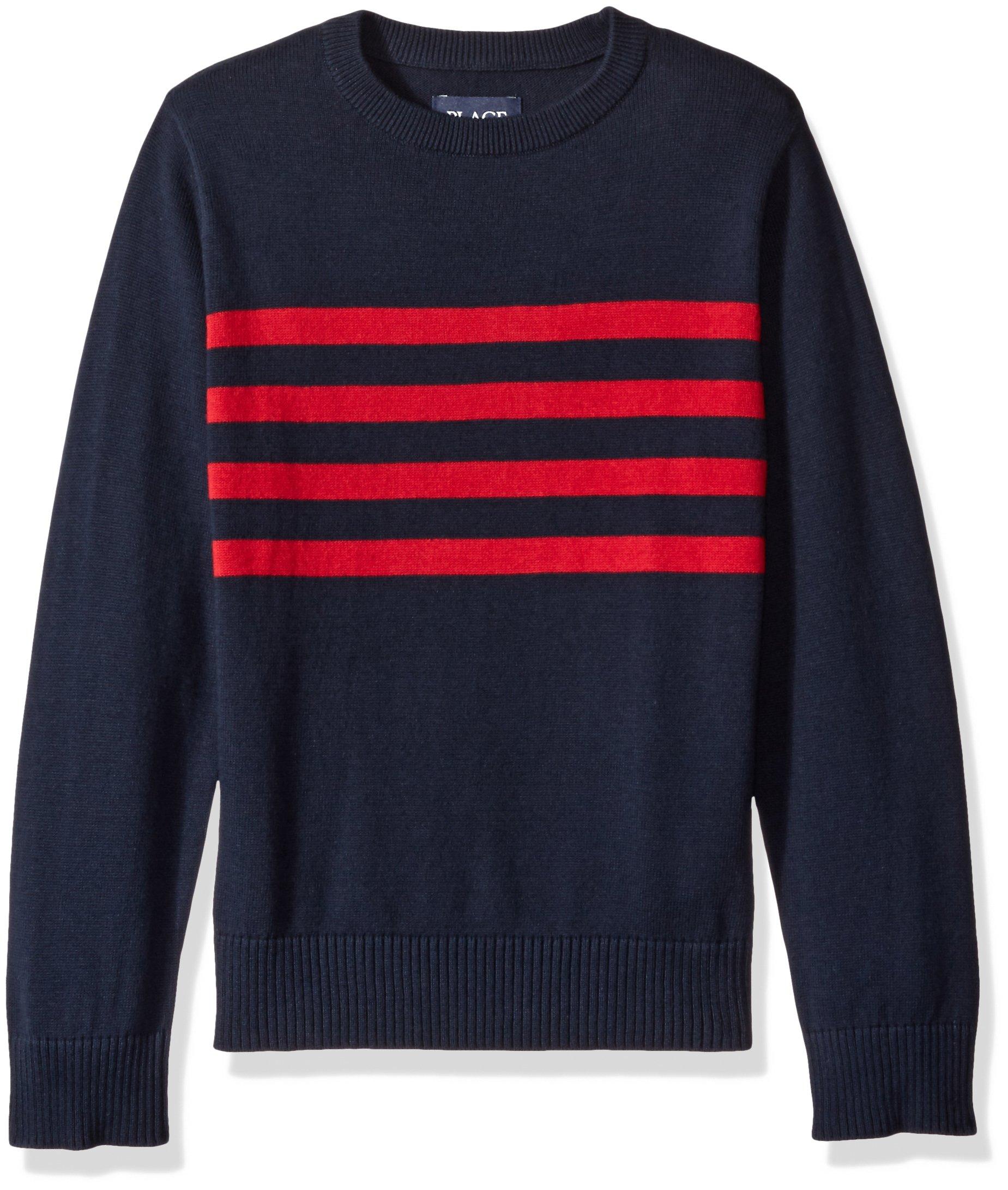 The Children's Place Boys' Big Crewneck Sweater, Tidal, Medium/7/8