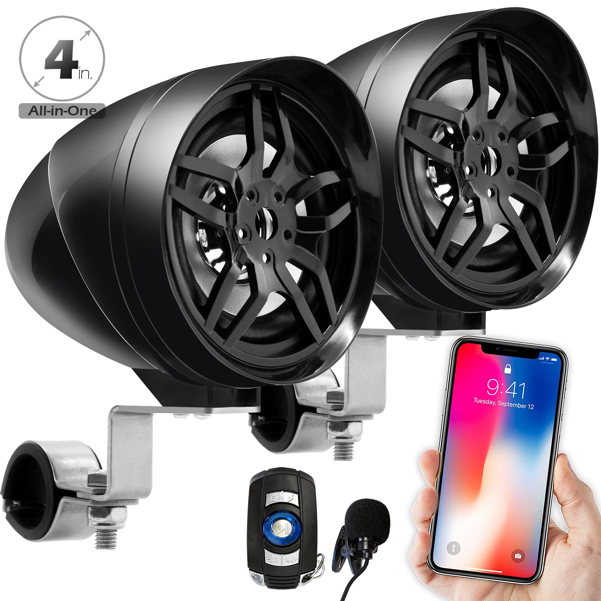 GoldenHawk All-In-One 4'' Waterproof Bluetooth Motorcycle Stereo Speakers 7/8-1.25 in. Handlebar Mount MP3 Music Player Sound Audio System Scooter ATV UTV w/USB, Remote, Radio, Amplifier