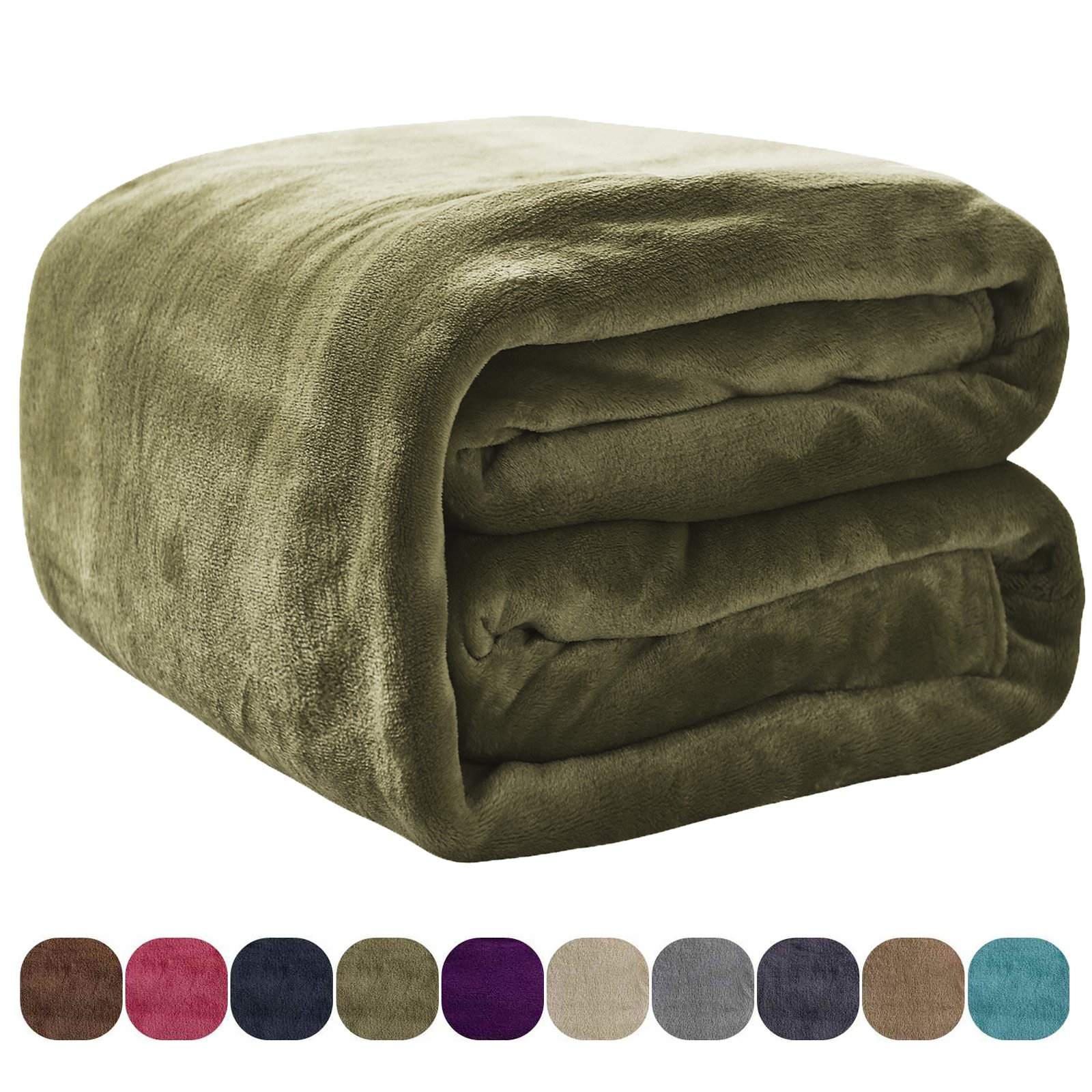 VEEYOO Flannel Fleece Bed Blanket Twin Size - All Seasons Lightweight Luxury Plush Microfiber Blankets for Bed Couch Sofa, Olive Green