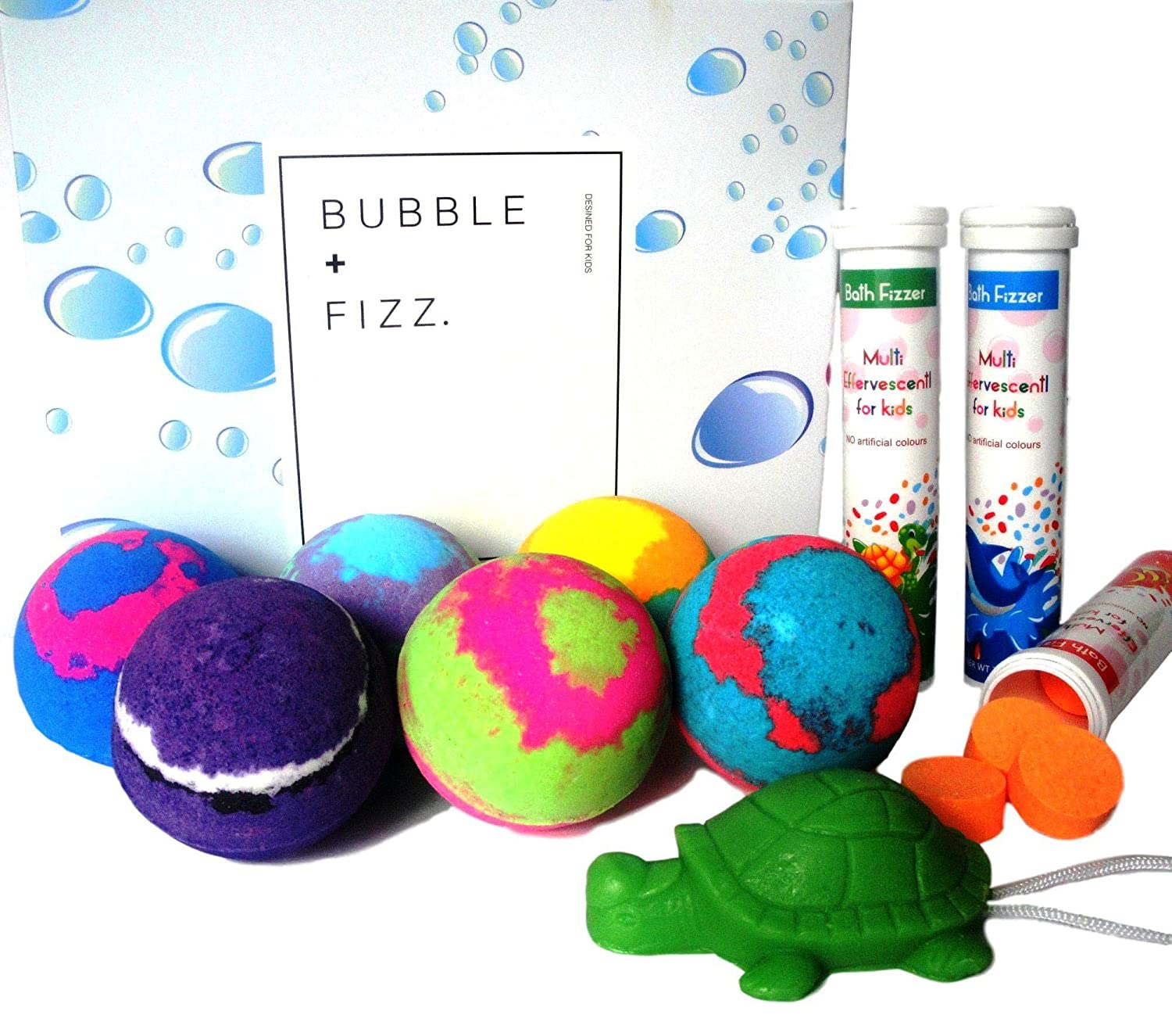 KIDS BATH BOMBS WITH A SURPRISE TOY INSIDE & FIZZ FUN SET Colored XL Bath Bombs, Kid Safe, Gender Neutral with Organic Essential Oils – Handmade Organic Bubble Bath Fizzy (6 bath bombs with a toy inside, 3 bottles of fizz tablets,1 hand made soap)