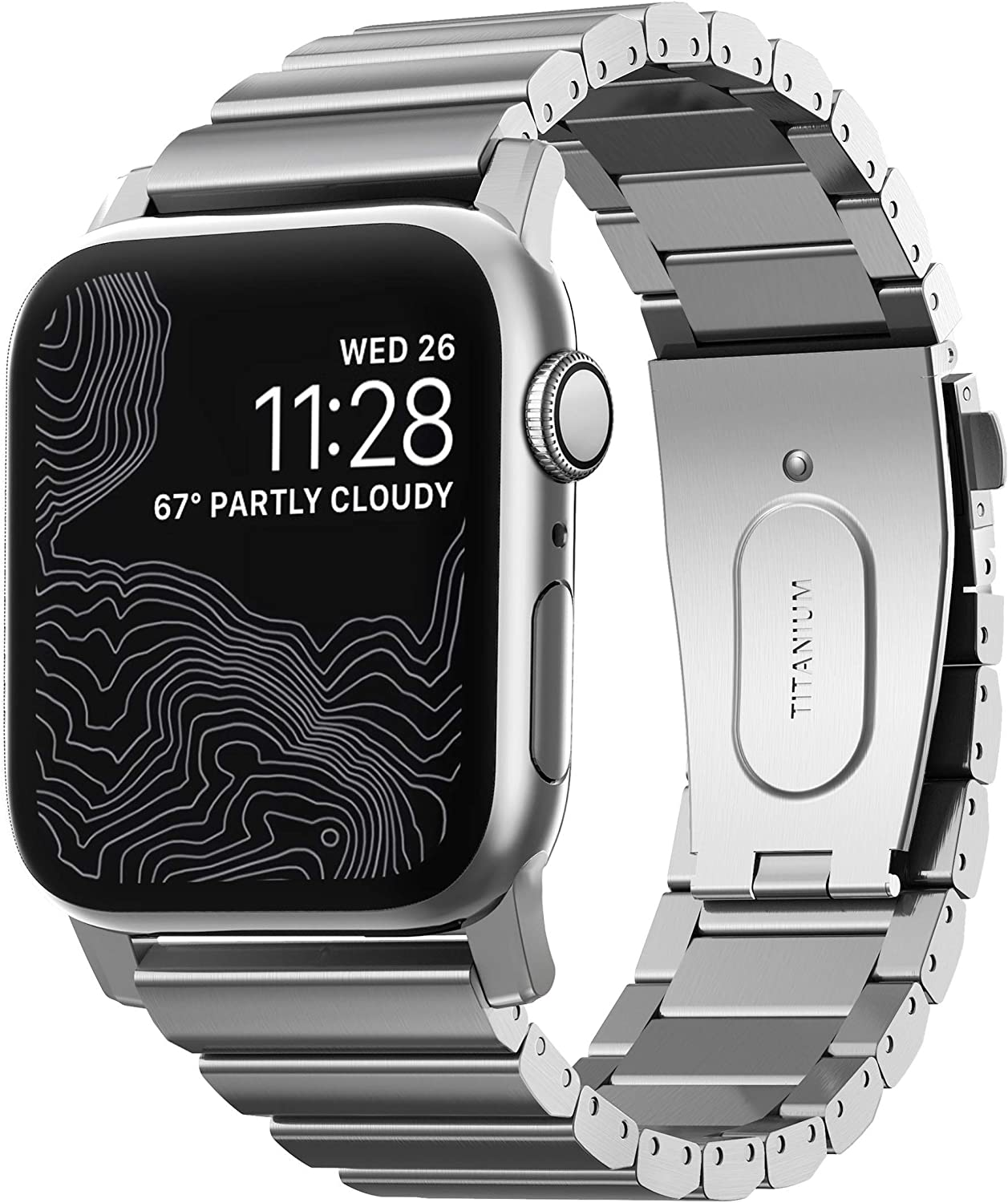 Nomad Titanium Band for Apple Watch 44mm/42mm | Silver Hardware
