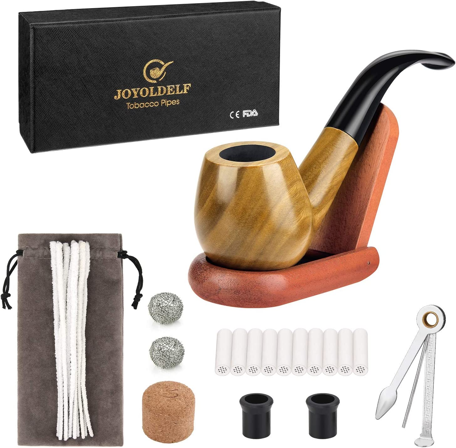 Joyoldelf Tobacco Smoking Pipe Set with Wooden Stand, 3-in-1 Pipe Scraper, 10 Pipe Cleaners & Pipe Filters, 2 Pipe Bits & Metal Balls, Cork Knocker, Bonus a Pipe Pouch
