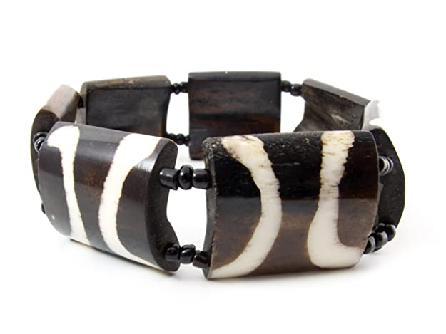 Maisha African Fair Trade Upcycled Camel Batiked Bone Stretchy Bracelet with Off White Tuxcedo Pattern