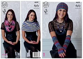 Amazon Com King Cole Ladies 4 Ply Knitting Pattern Womens Scarf Hat