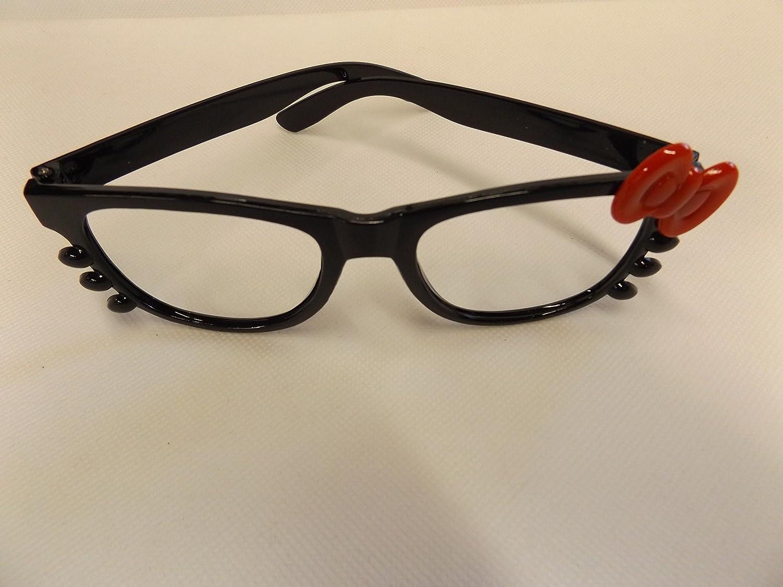 37a0fd64d1 fat-catz-copy-catz Hello Kitty Vintage Classique Geek Nerd Noir Monture avec  Arc Rouge Sans verres envoyé depuis Londres Hello Kitty Bleu Lunettes, ...