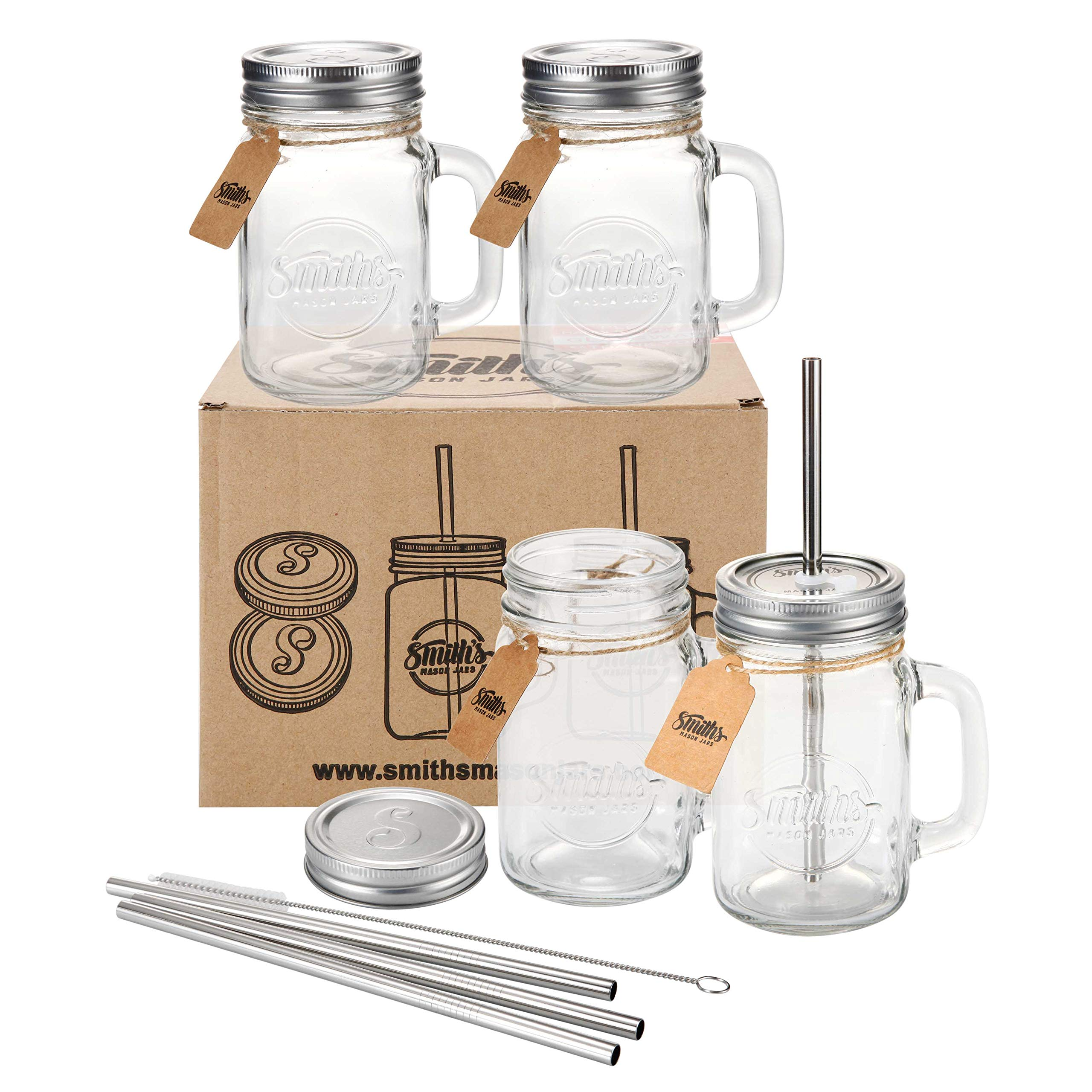 Smiths Mason Jar Set of Four Jars with Lids and Straws Also with Extra Set of 4 Lids Without Holes and Straw Cleaning Brush