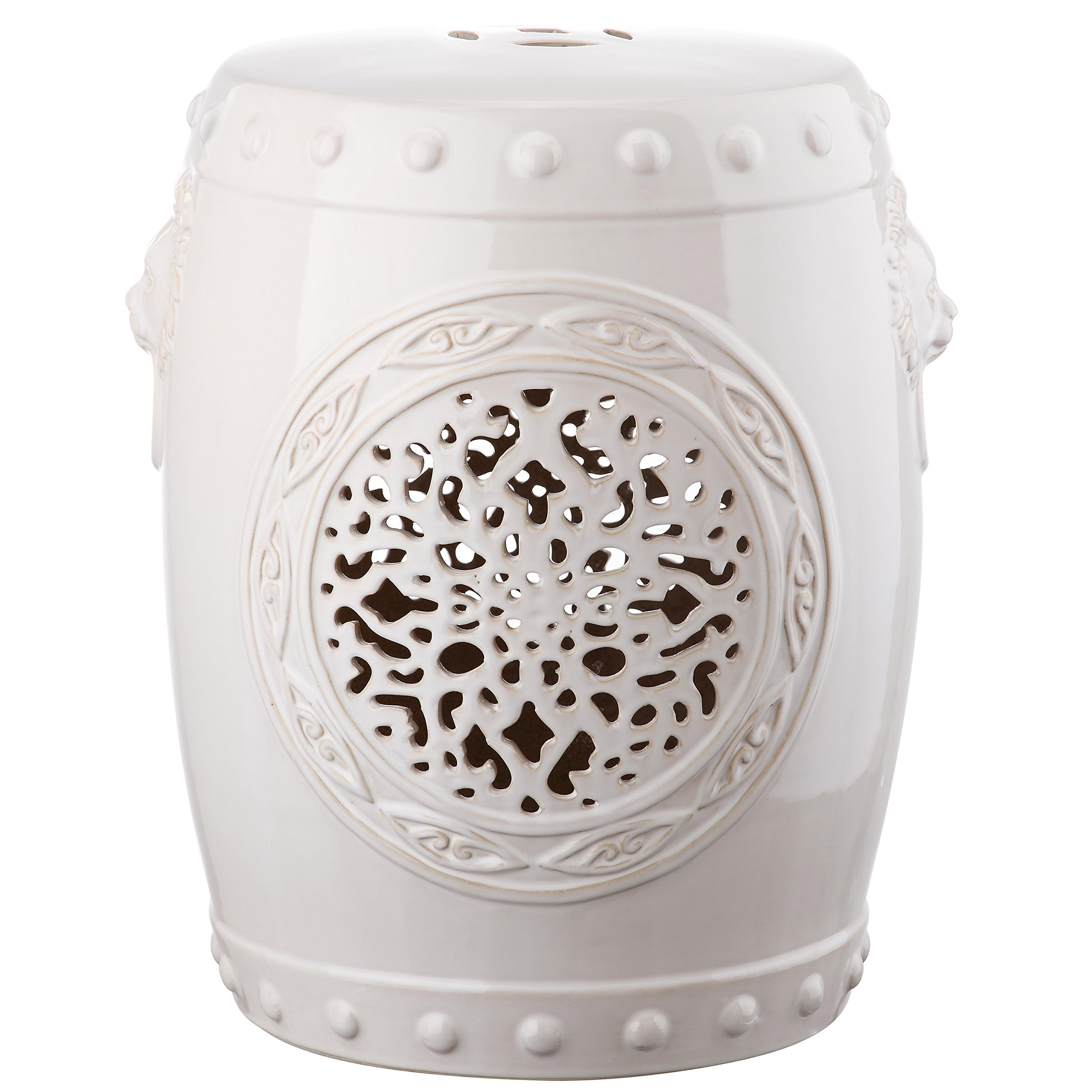 Safavieh Castle Gardens Collection Flower Drum Cream Glazed Ceramic Garden Stool