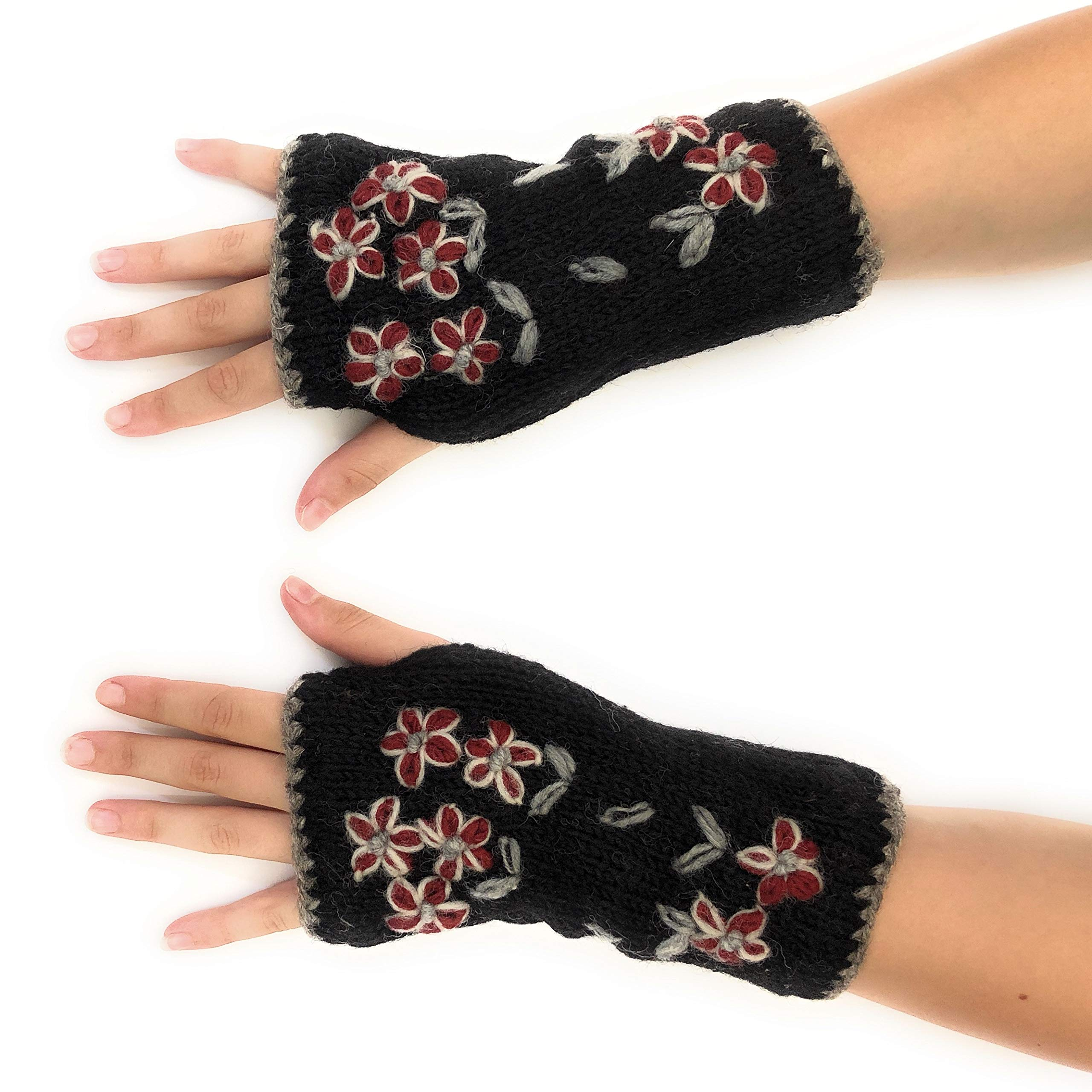 Hand Knit Fingerless Embroidered Flower Winter Wool Texting Gloves Mittens Warm Fleece Lined (Black)