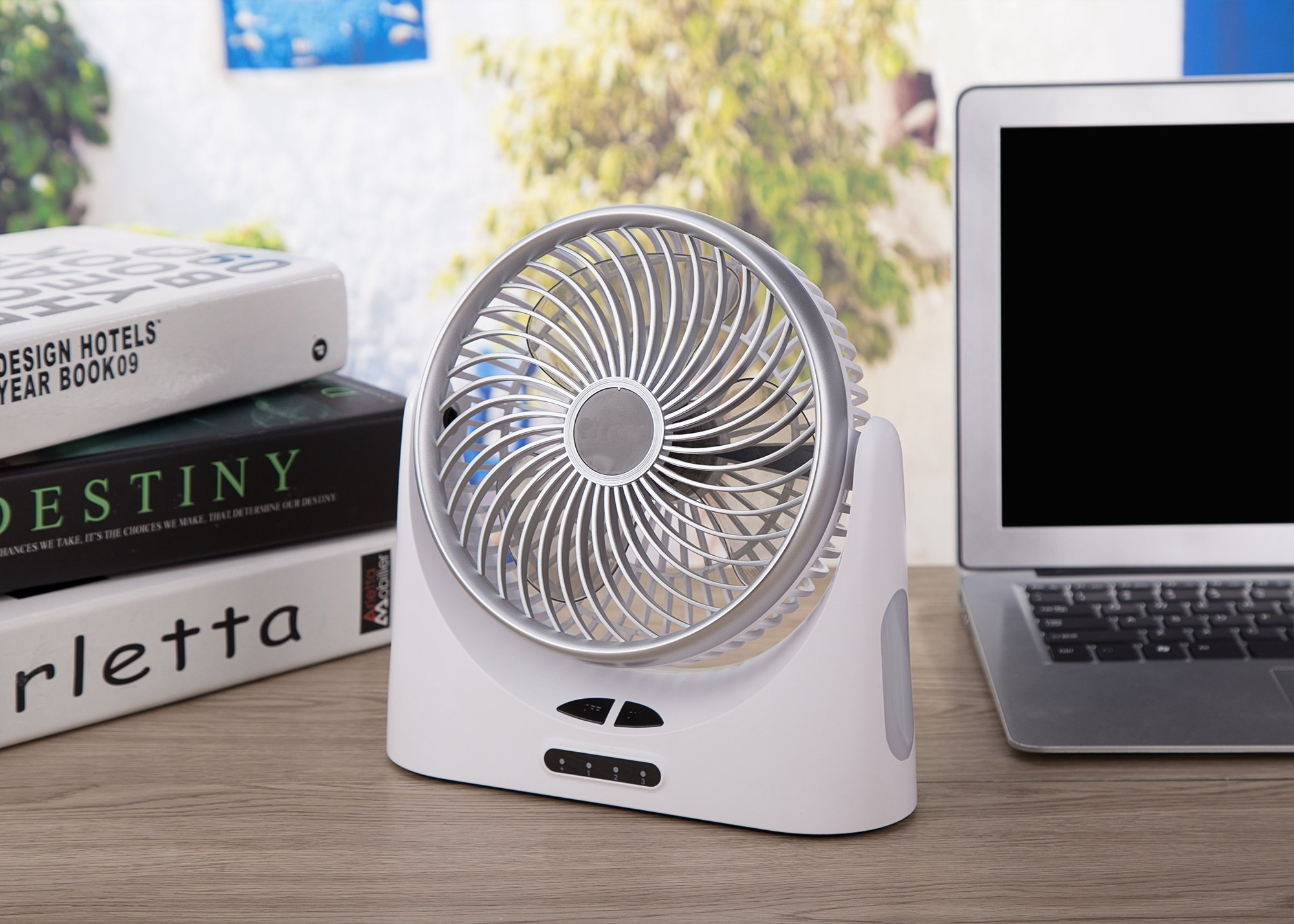 HCMAOE Mini USB Table Desk Personal Portable Air Circulator Fan 3 Speed, Lower Noise, Powered by USB or 4000mAh Rechargeable 18650 Battery with Power bank Function, Side LED Light for Office, (Silver) by HCMAOE (Image #6)