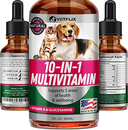 VETFLIX Pet Vitamins 10 in 1 – Made in USA – Glucosamine For Dogs Cats – Dog Supplement for Pet Joint Health – Natural Cat Dog Multivitamin – All Ages Breeds – Folic Acid For Cats Dogs Immune