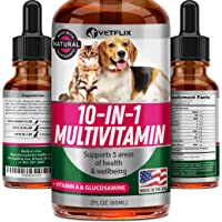 Vetflix Pet Vitamins 10 in 1 - Made in USA - Glucosamine for Dogs & Cats - Dog Supplement for Pet Joint Health - Natural…