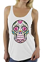 Pink Flowers Sugar Skull Day of the Dead Racerback tank top